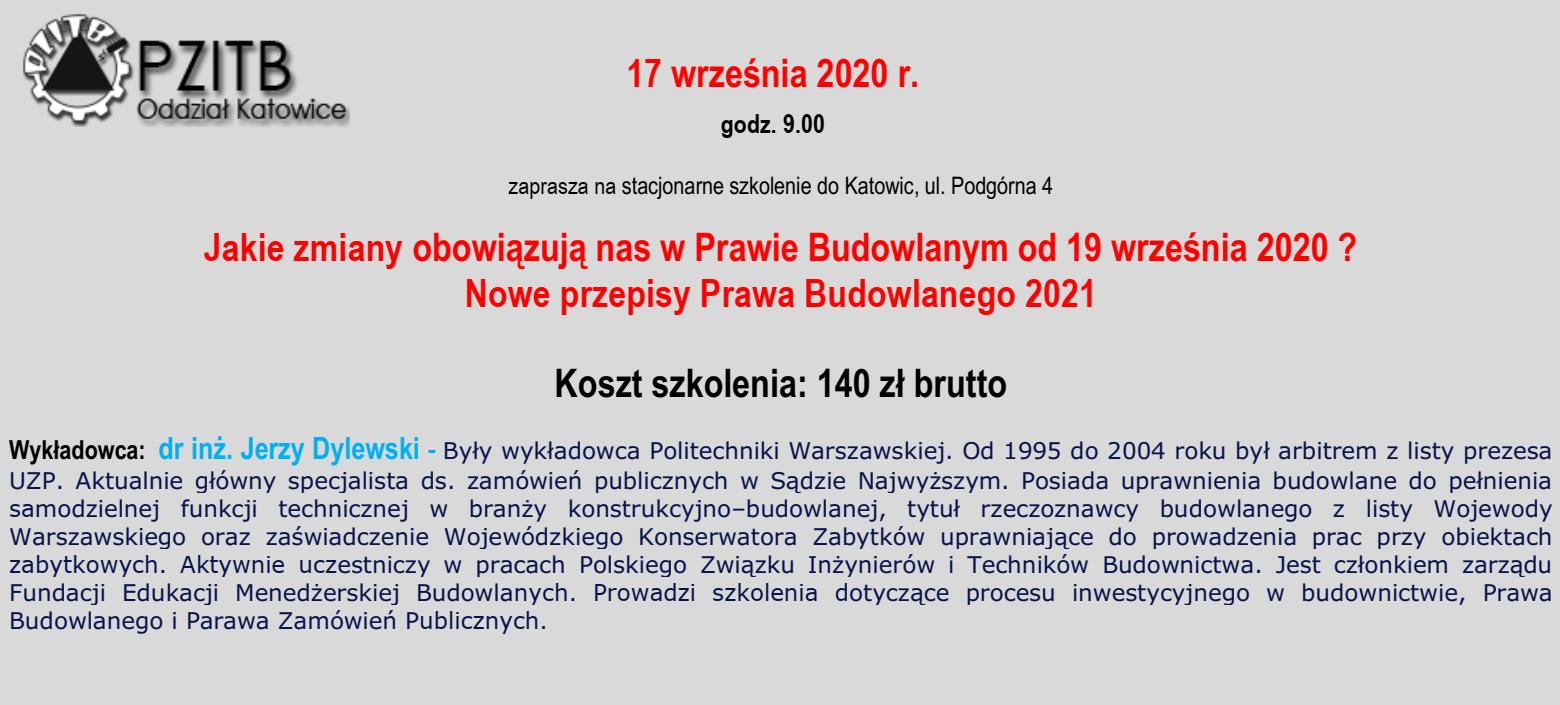 Szkolenie stacjonarne - Zmiany w Prawie budowlanym - dodatkowy termin 17.09.2020